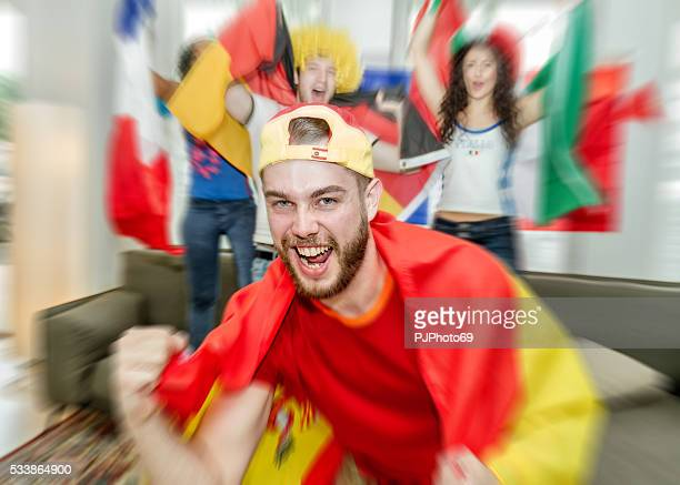 spanish supporter rejoicing - pjphoto69 stock pictures, royalty-free photos & images