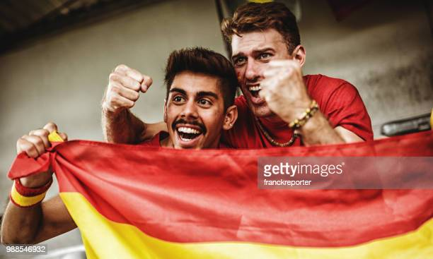 spanish supporter with the megaphone - spanish culture stock pictures, royalty-free photos & images