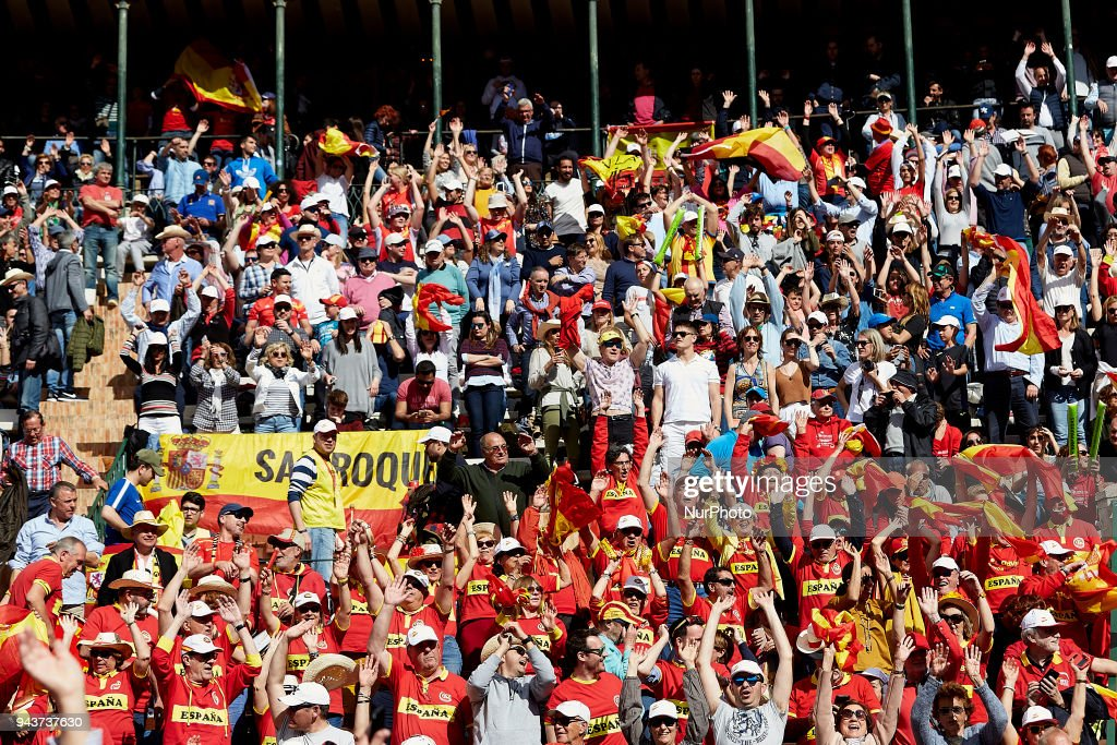 Spanish supporters do the Mexican wave during day three of the Davis Cup World Group Quarter Finals match between Spain and Germany at Plaza de Toros de Valencia on April 8, 2018 in Valencia, Spain