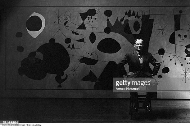 Spanish surrealist painter and sculptor Joan Miro in studio August 27 1947 in New York City the mural was painted for a Gordon Bunschaft designed...