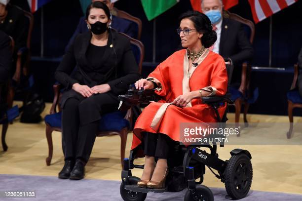 Spanish swimmer and Paralympic medalist Teresa Perales, laureate of the Princesa de Asturias award for Sports, delivers a speech during the 2021...