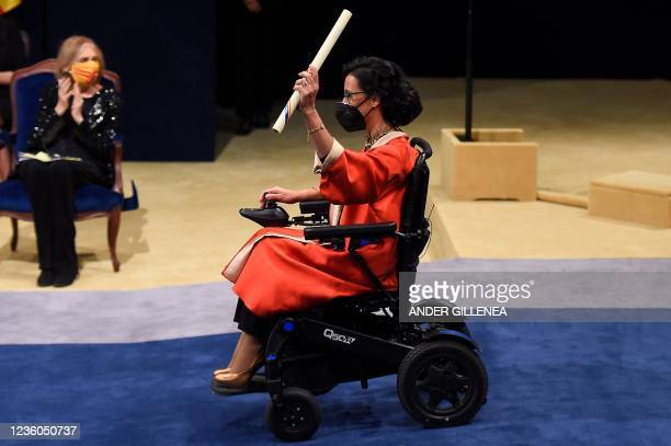Spanish swimmer and Paralympic medalist Teresa Perales reacts after receiving the Princesa de Asturias award for Sports during the 2021 Princess of...