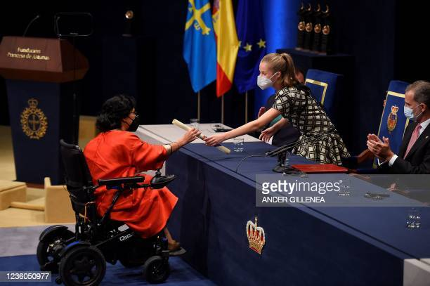 Spanish swimmer and Paralympic medalist Teresa Perales , receives the Princesa de Asturias award for Sports from Spanish Crown Princess of Asturias...
