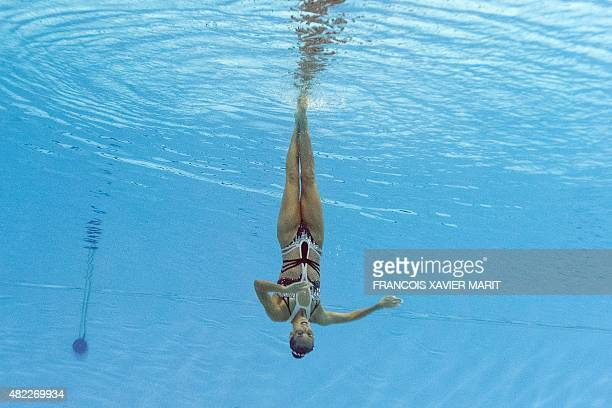 CAMERA Spanish swimmer Ona Carbonell competes in the women's Solo Free final event during the synchronised swimming competition at the 2015 FINA...