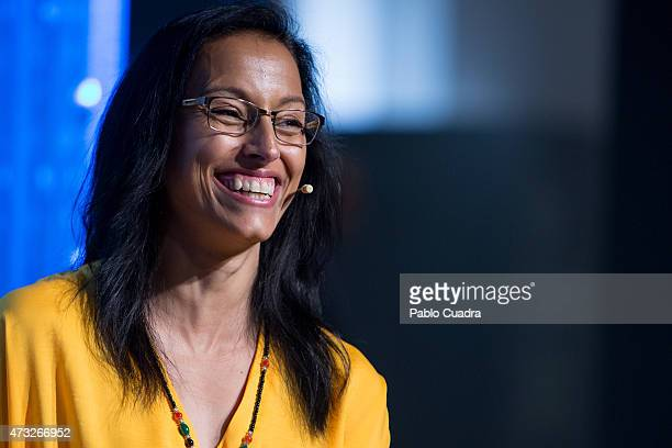 Spanish swimmer Teresa Perales attends a press conference as she is announced as the new Fundacion Telefonica ambassador on May 14 2015 in Madrid...