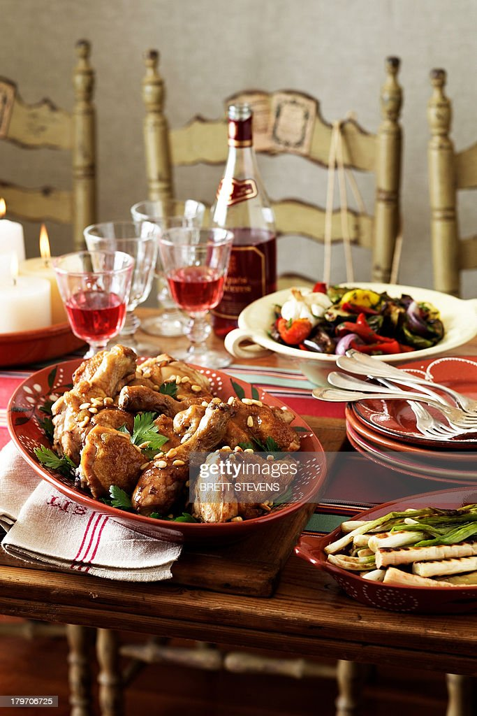 Spanish table setting with traditional food  Stock Photo & Spanish Table Setting With Traditional Food Stock Photo | Getty Images