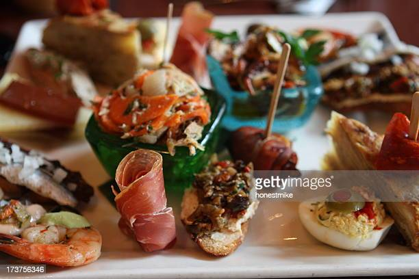 spanish tapas sampler - tapas stock photos and pictures