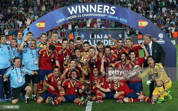 Spanish team celebrates with the trophy after winning the UEFA European U21 Championships Final match between Spain and Italy at Teddy Stadium on...