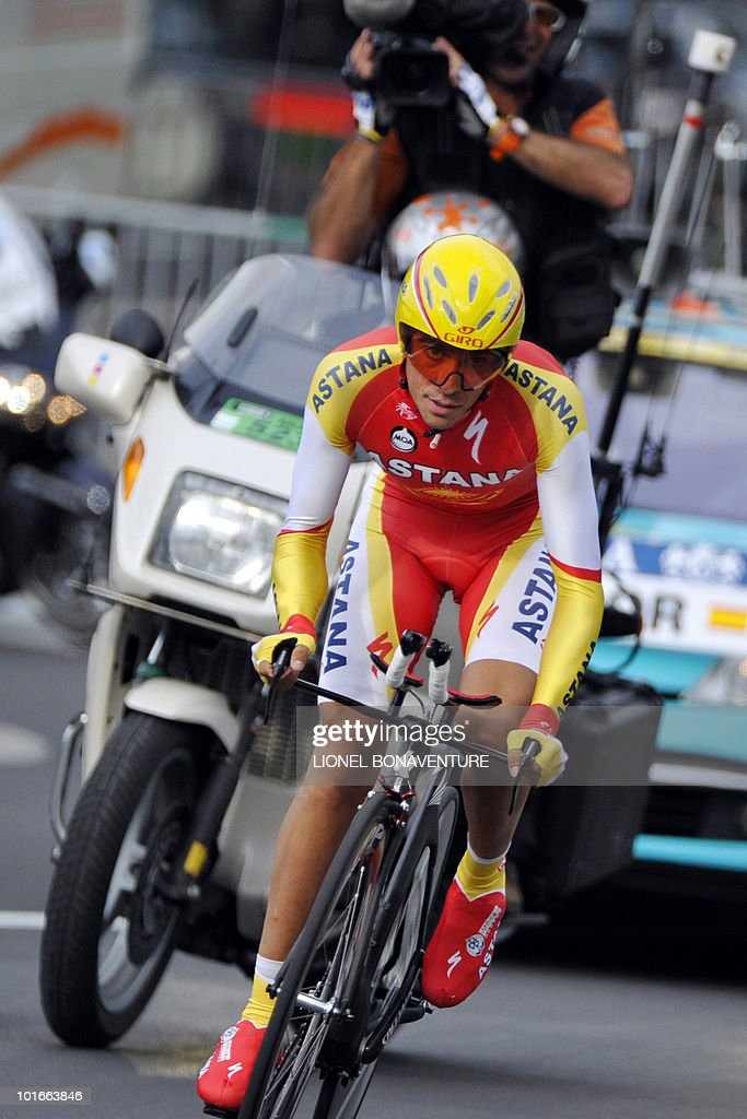 Spanish team leader Alberto Contador (Astana) competes on June 6, 2010 in the 6,8 km individual time-trial and first stage of the 62th edition of the Criterium of Dauphine Libere cycling race run in Evian, eastern France. Contador won the first stage ahead of US Tejay Van Garderen (HTC-Columbia ) and Slovenian Janez Brajkovic (Radishack).