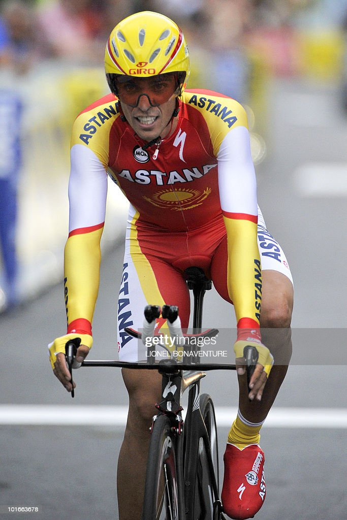 Spanish team leader Alberto Contador (Astana) rides on the finish line on June 6, 2010 in the 6,8 km individual time-trial and first stage of the 62th edition of the Criterium of Dauphine Libere cycling race run in Evian, eastern France. Contador won the first stage ahead of US Tejay Van Garderen (HTC-Columbia ) and Slovenian Janez Brajkovic (Radishack).