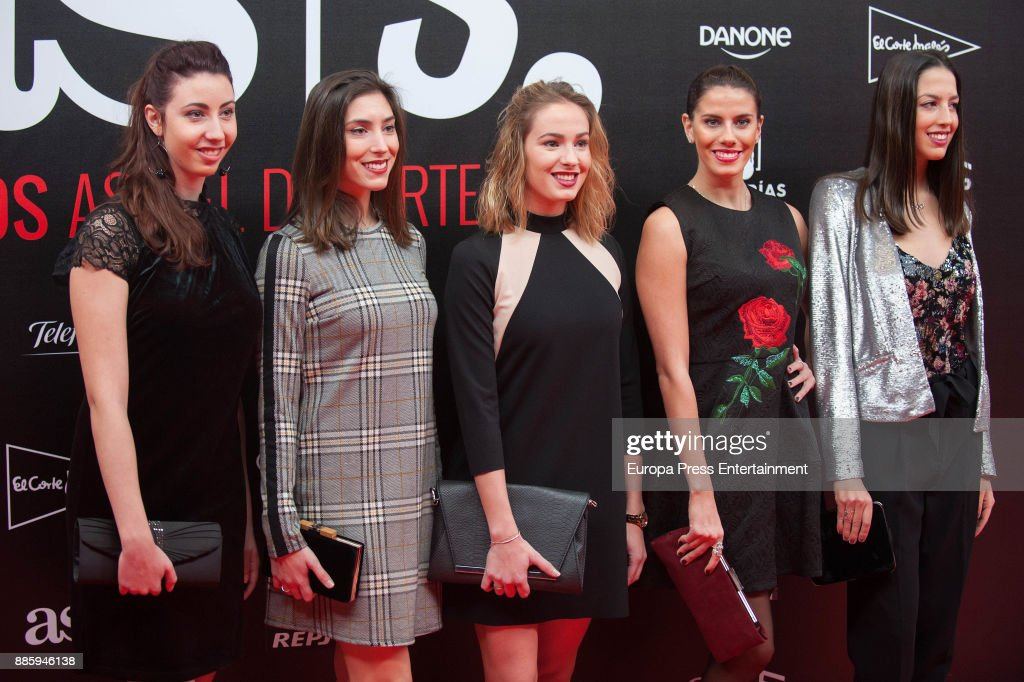 Spanish team of Rhythmic Gymnastic attend the 'As del Deporte' and 'As' sports newspaper 50th anniversary dinner at the Palacio de Cibeles on December 4, 2017 in Madrid, Spain.