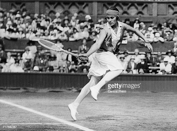 Spanish tennis player and journalist Lili de Alvarez in play during the Wimbledon championships 1926