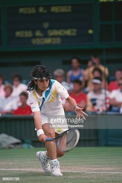 Spanish tennis player Arantxa Sanchez Vicario pictured in action against Raffaella Reggi during their third round match in the Women's Singles...