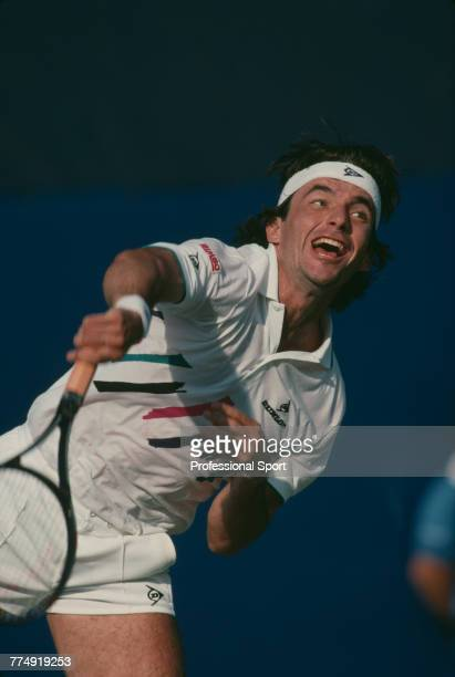 Spanish tennis player Emilio Sanchez pictured in action during competition to reach the quarterfinals of the Men's Singles tennis tournament during...