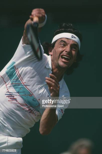 Spanish tennis player Emilio Sanchez pictured in action during competition to reach the second round of the Men's Singles tennis tournament at the...