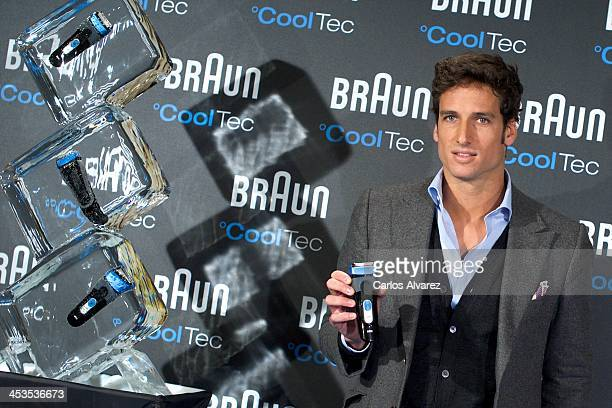 Spanish tennis player Feliciano Lopez presents the new Braun CoolTec at the Inside Genova Hotel on December 4 2013 in Madrid Spain