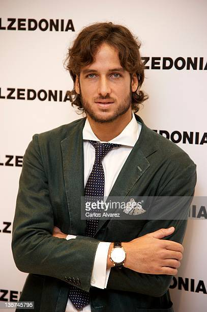 Spanish tennis player Feliciano Lopez wishes Merry Christmas at Calzedonia Store on December 13 2011 in Madrid Spain