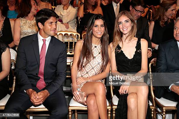 Spanish tennis player Fernando Verdasco Ana Boyer and Chiara Ferragni attend the Pronovias fashio show 2016 as part of the Barcelona Bridal Week at...