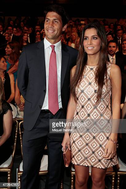 Spanish tennis player Fernando Verdasco and Ana Boyer attend the Pronovias fashion show 2016 as part of the Barcelona Bridal Week at the Museu...