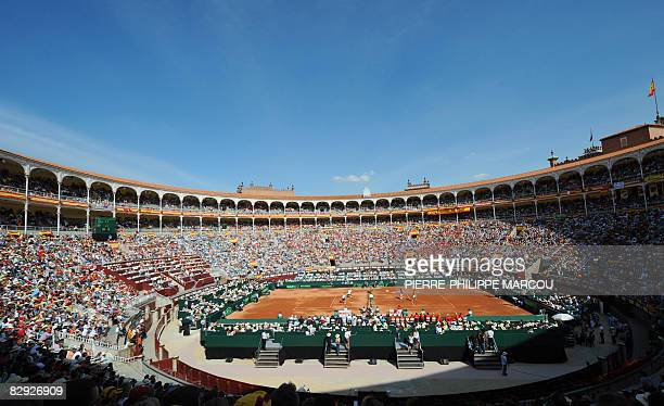 Spanish tennis player Fernando Verdasco and US Mike Bryan and Mardy Fish are seen as they compete during their double match of the Davis Cup...