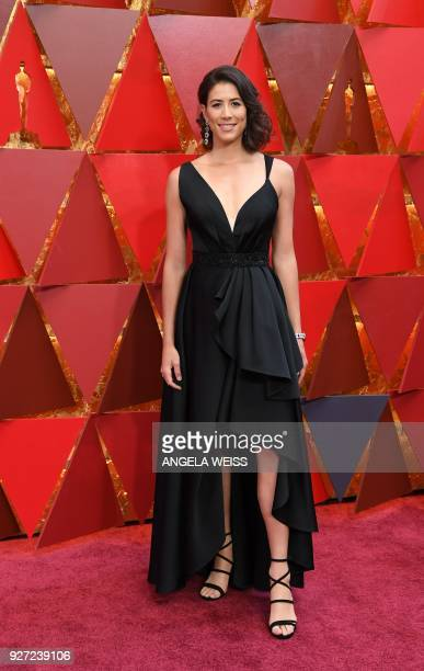 Spanish tennis player Garbine Muguruza arrives for the 90th Annual Academy Awards on March 4 in Hollywood California / AFP PHOTO / ANGELA WEISS
