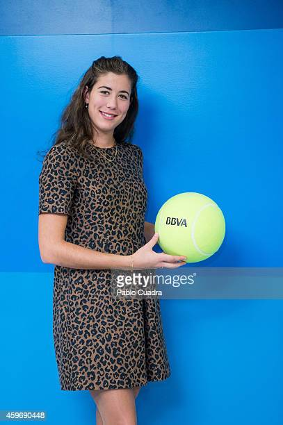 Spanish tennis player Garbine Muguruza poses during a photocall as she was announced as the BBVA ambassador on November 28 2014 in Madrid Spain