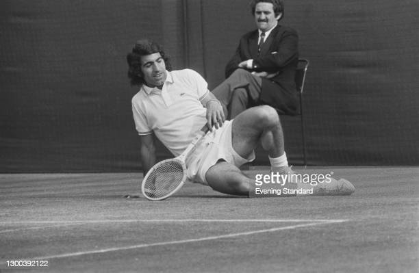 Spanish tennis player Manuel Orantes during the 1972 Wimbledon Championships in London, UK, July 1972.