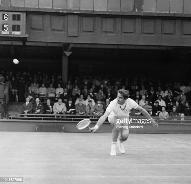 Spanish tennis player Manuel Santana in action at Wimbledon Championships All England Lawn Tennis and Croquet Club London UK 1st July 1968
