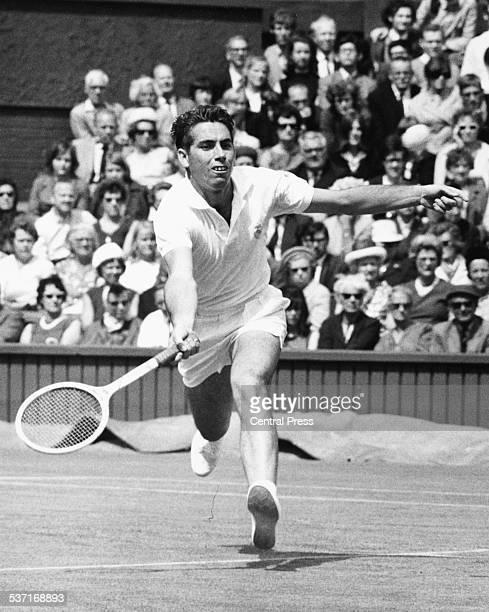 Spanish tennis player Manuel Santana in play at Wimbledon Tennis Tournament London 1968