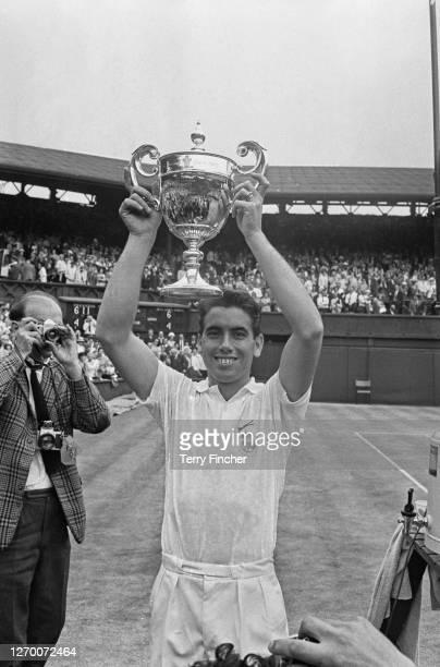 Spanish tennis player Manuel Santana wins the Men's Singles title at the Wimbledon Championships London UK 1st July 1966
