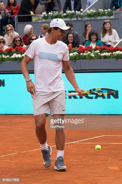 Spanish tennis player Rafa Nadal during a charity game set at Caja Magica court in Madrid Spain on 29 April 2016