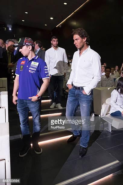 Spanish tennis player Rafael Nadal and Spanish MotoGP rider Jorge Lorenzo attend the handover ceremony of the Podium scholarships held in Madrid...