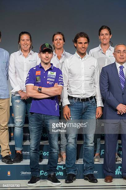 Spanish tennis player Rafael Nadal and Spanish MotoGP rider Jorge Lorenzo attend the handover ceremony of the Podium scholarships held in Madrid...