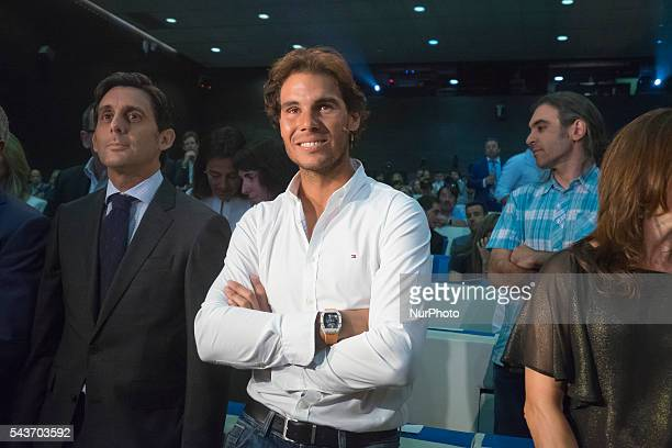Spanish tennis player Rafael Nadal attend the handover ceremony of the Podium scholarships held in Madrid Spain 28 June 2016 Photo Oscar...