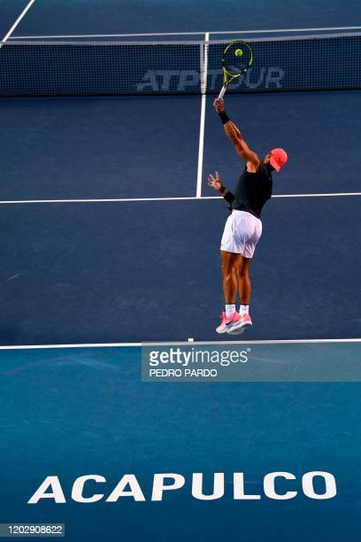Spanish tennis player Rafael Nadal attends a practice session before the Mexican ATP Open in Acapulco Guerrero state Mexico on February 23 2020