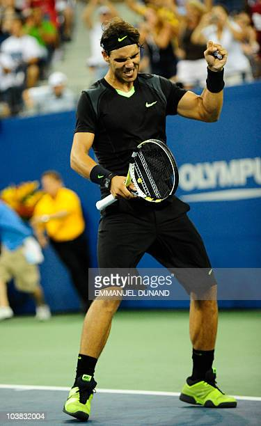 Spanish tennis player Rafael Nadal celebrates after winning against Uzbekistan's Denis Istomin, during their second round match at the 2010 US Open...