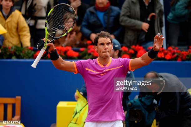 Spanish tennis player Rafael Nadal celebrates his victory over South African tennis player Kevin Anderson during the ATP Barcelona Open 'Conde de...