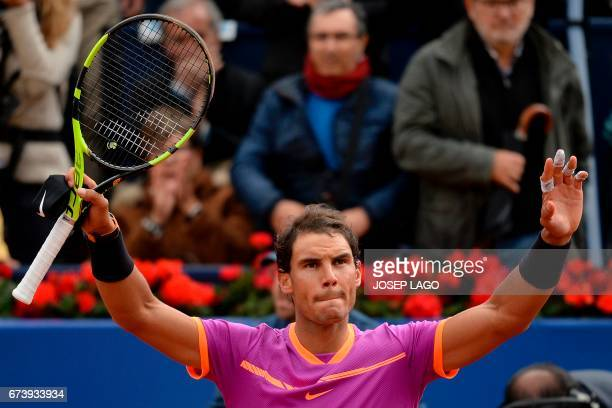 """Spanish tennis player Rafael Nadal celebrates his victory over South African tennis player Kevin Anderson during the ATP Barcelona Open """"Conde de..."""