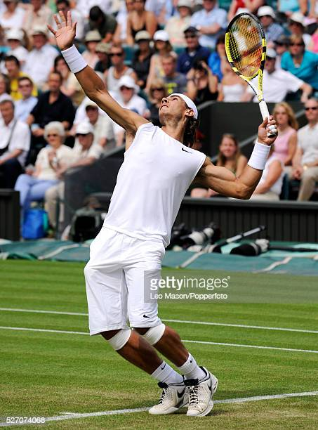 Rafael Nadal during his 2008 Wimbledon Championships tennis match against Andreas Beck