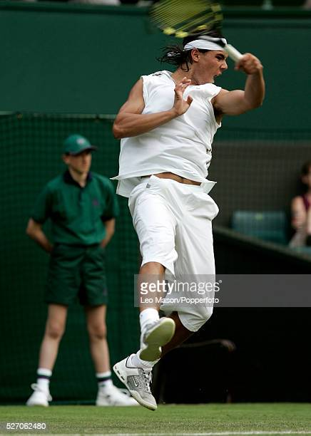 Spanish tennis player Rafael Nadal pictured in action during progress to reach the second round of the Men's Singles tournament at the Wimbledon Lawn...