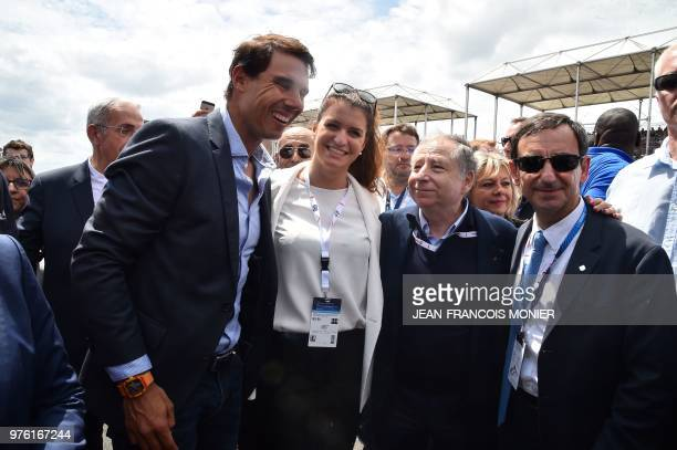 Spanish tennis player Rafael Nadal poses next French Junior Minister for Gender Equality Marlene Schiappa International Automobile Federation...