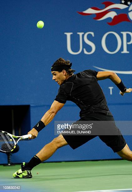 Spanish tennis player Rafael Nadal returns a point to Uzbekistan's Denis Istomin, during their second round match at the 2010 US Open tennis...