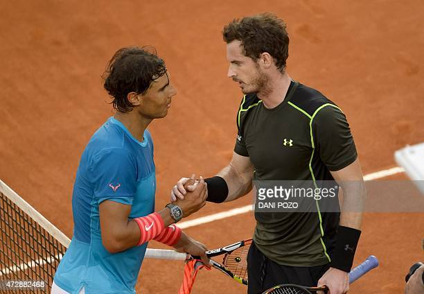Spanish tennis player Rafael Nadal shake hands to Scottish tennis player Andy Murray at the end of the men final of Madrid Open tournament at the...