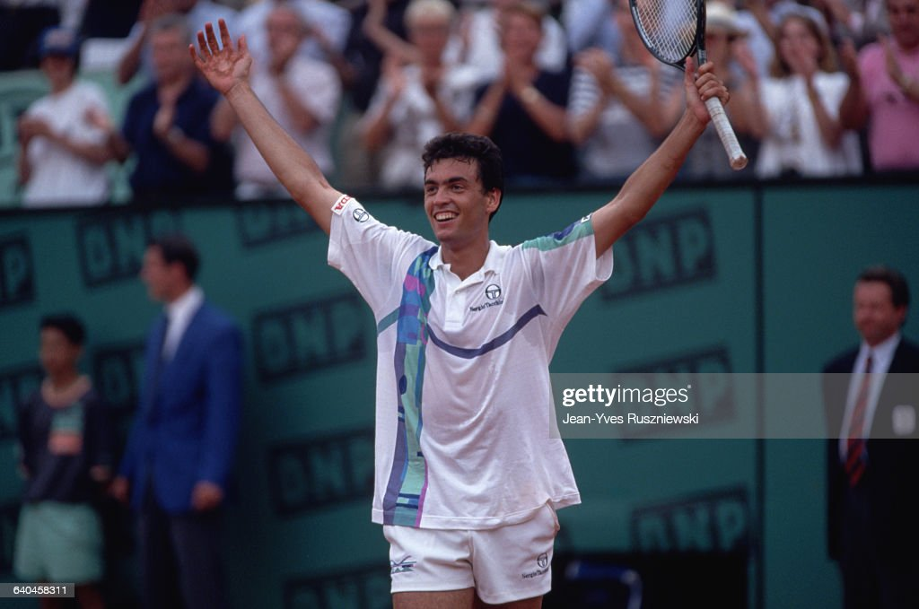 Spanish tennis player Sergi Bruguera celebrates after winning the final match of the 1993 French Open.