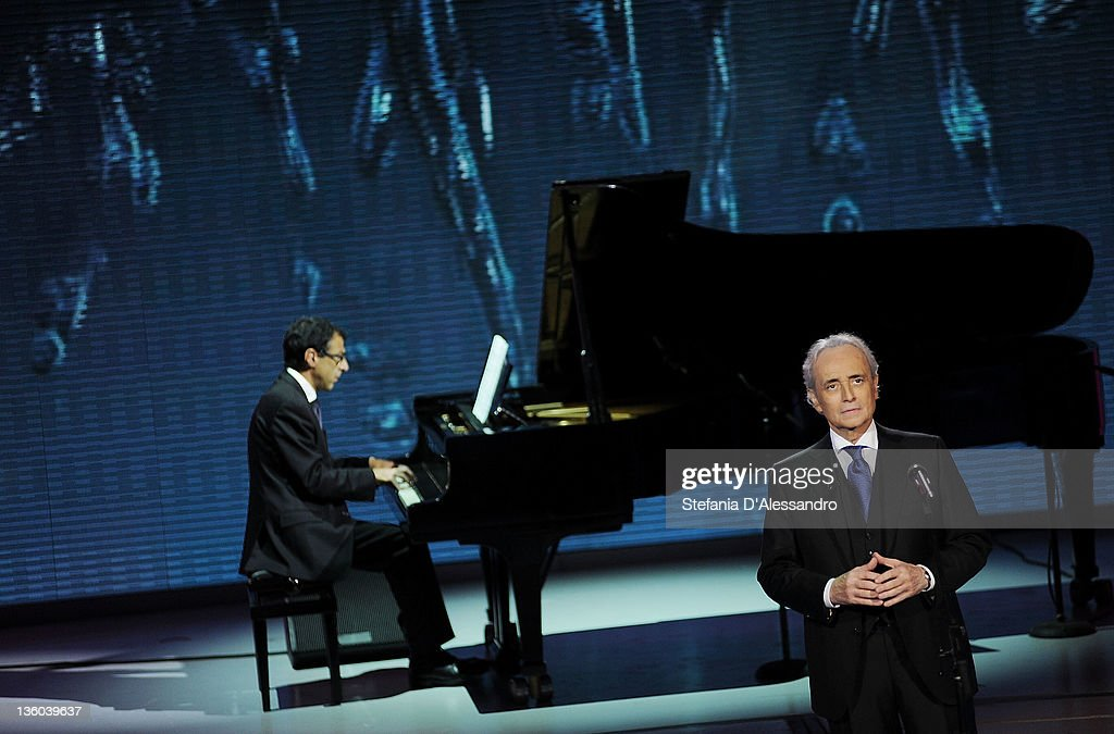 Spanish tenor Jose Carreras performs live during 'Che Tempo Che Fa