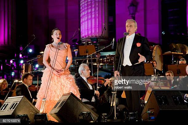 Spanish tenor Jose Carreras performs with German soprano Barbara Krieger during the Berlin Classic Open Air concerts held every summer in the...