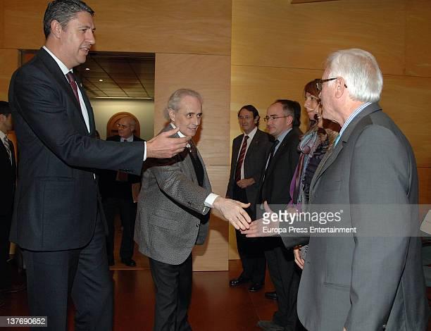 Spanish Tenor Josep Carreras and Badalona major Xavier Garcia Albiol present Leukaemia Research Institute project at badalona Town Hall on January 24...
