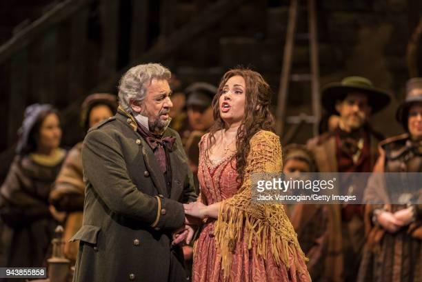 Spanish tenor Placido Domingo and Bulgarian soprano Sonya Yoncheva perform at the final dress rehearsal prior to the season revival of the 1990...