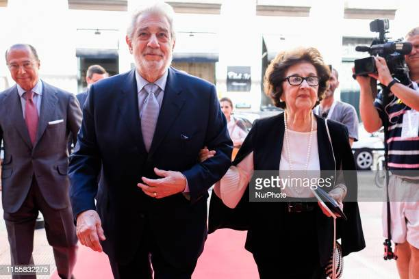 Spanish tenor Placido Domingo and Marta Ornelas during the 10th International Congress of Excellence organized by Madrid's Regional Government held...