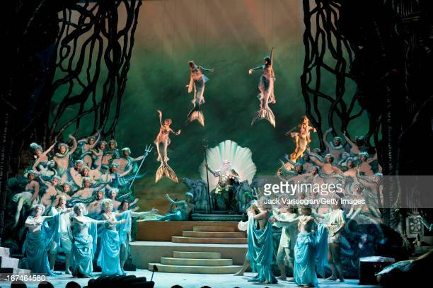 Spanish tenor Placido Domingo and others perform during the final dress rehearsal of the Metropolitan Opera/Phelim McDermott production of Jeremy...